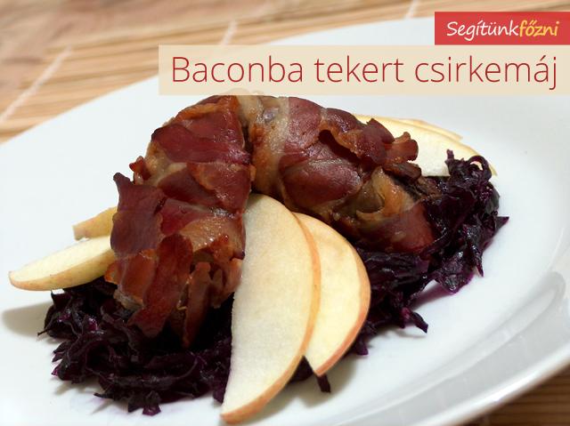 Baconbe tekert csirkemáj